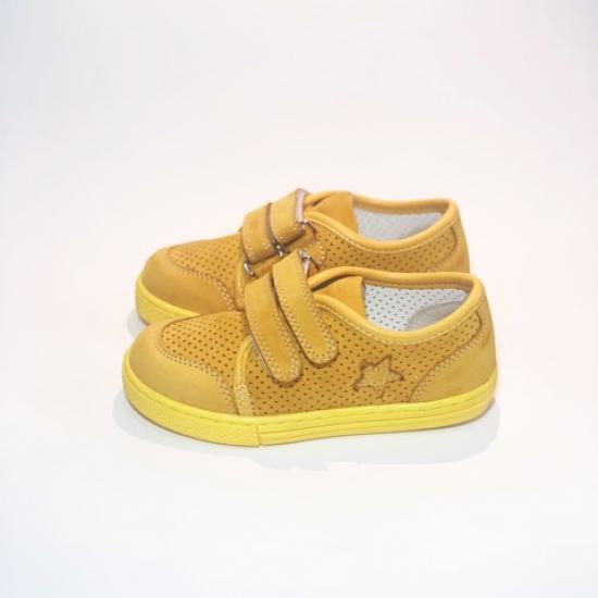 Кеды детские Pinini желтые, натуральный нубук