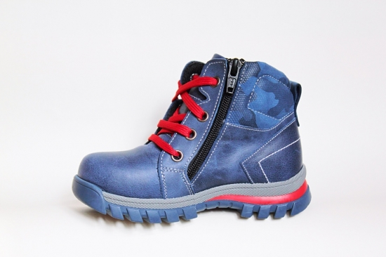 Ботинки детские Pinini для мальчиков, демисезонные натуральная кожа, синие