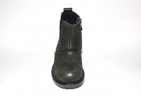 Ботинки детские Pinini для девочек, демисезонные натуральная кожа, хаки челси