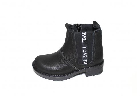 Ботинки детские Pinini для девочек, демисезонные натуральная кожа, черные челси