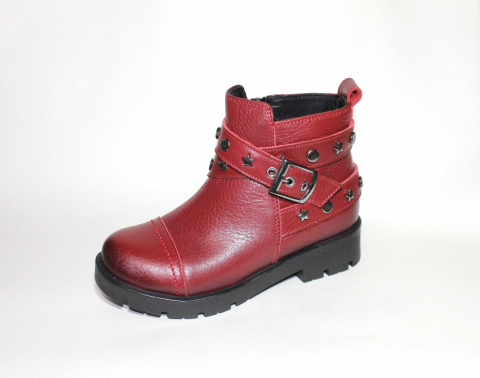 Ботинки детские Pinini для девочек, демисезонные натуральная кожа, красные