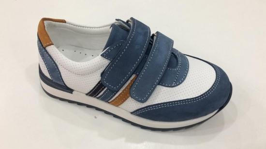 Кроссовки детские Pinini для мальчиков натуральная кожа, голубые