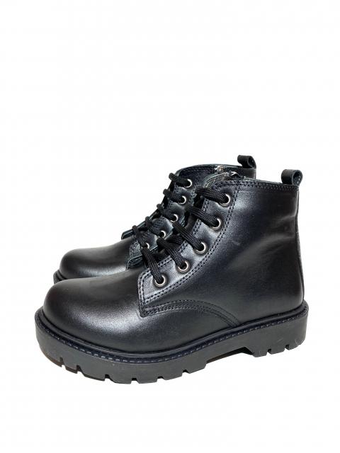 Ботинки детские Pinini для мальчиков, демисезонные натуральная кожа, черные