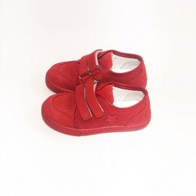 Кеды детские Pinini, натуральный нубук, красные