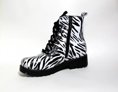 """Ботинки детские Pinini для девочек, демисезонные натуральная кожа, с принтом """"Zebra"""""""